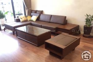 Sofa gỗ bọc da chữ L đẹp