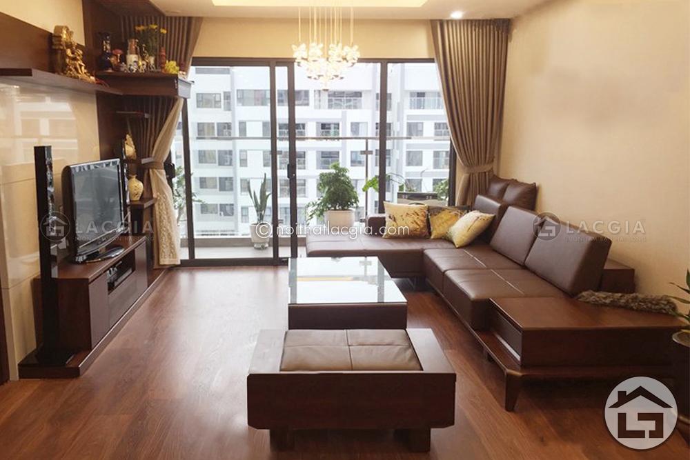Sofa go chu L SF25 2 - Mẹo biến tấu không gian phòng khách theo phong cách và cá tính của chủ nhà