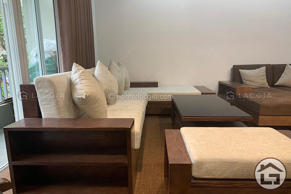 sofa go chu L cho chung cu 3 - Sofa gỗ nhỏ gọn SF24