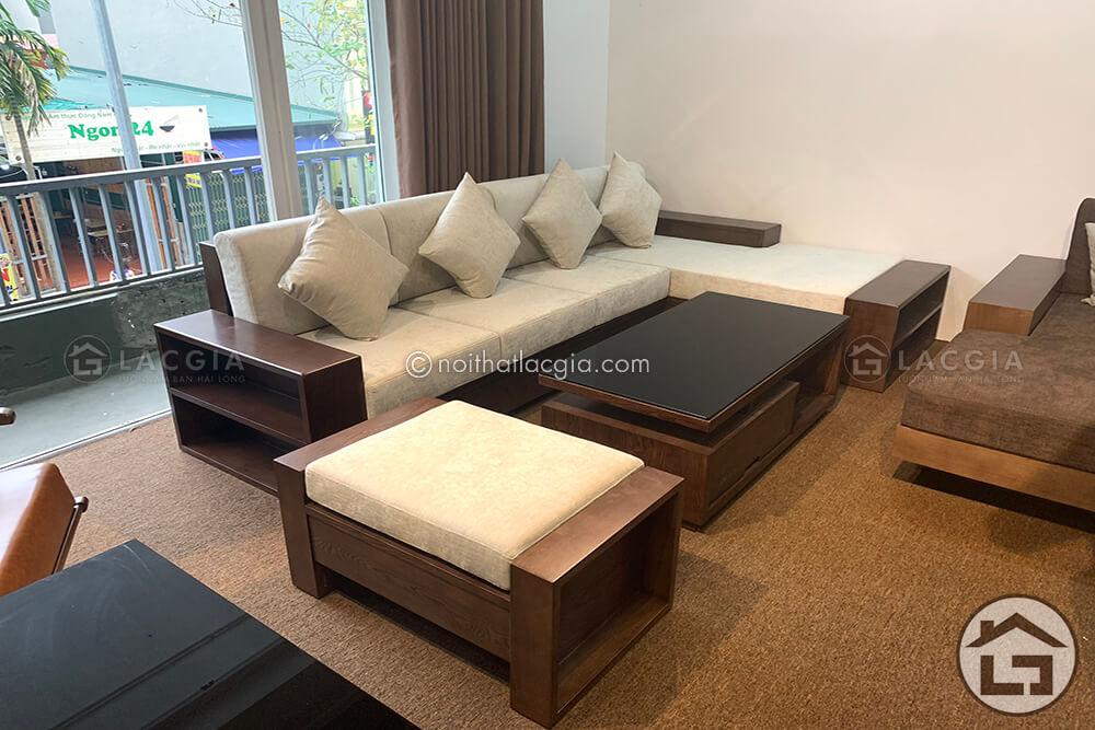 sofa gỗ chữ L cho phòng khách