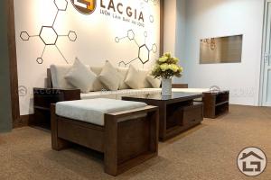 Sofa gỗ góc chữ L với phong cách hiện đại