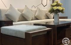 Sofa gỗ cho chung cư với kiểu dáng hình chữ L tinh tế