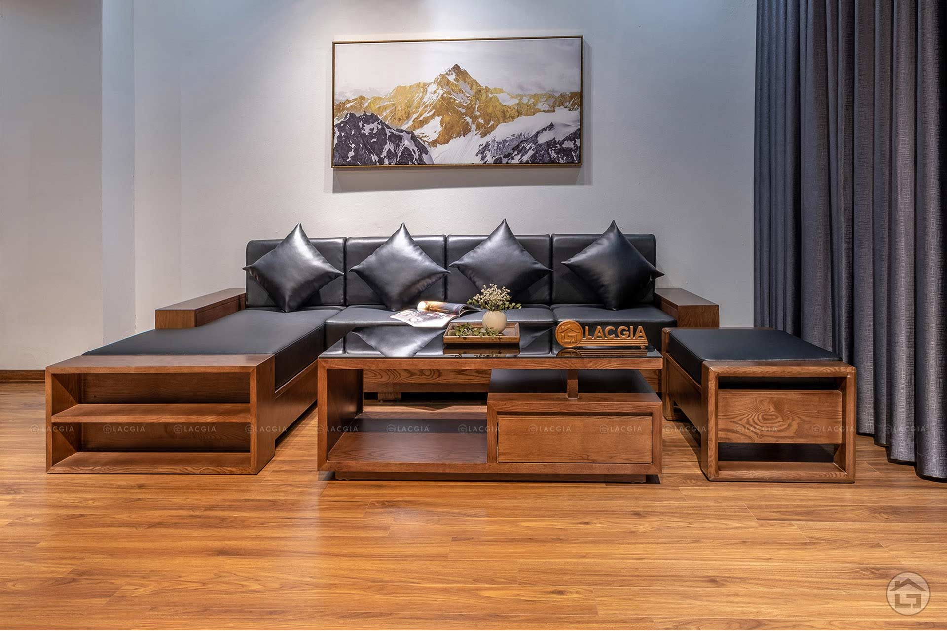 sofa go goc chu L SF24 5 - Sofa gỗ nhỏ gọn SF24