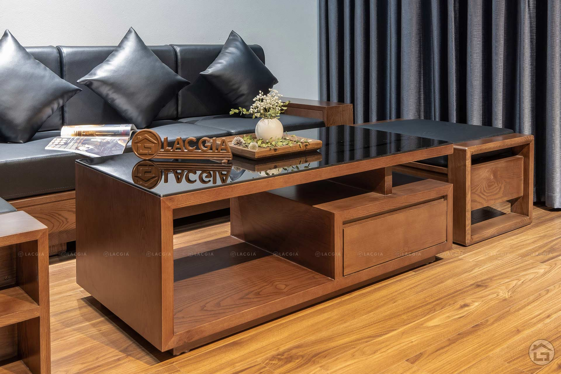 sofa go goc chu L SF24 8 - Sofa gỗ nhỏ gọn SF24