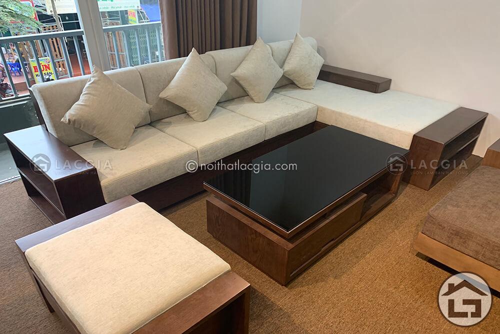 Sofa gỗ hiện đại kiểu dáng chữ L