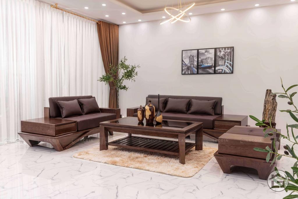 Sofa gỗ sồi nga hiện đại cho phòng khách đẹp