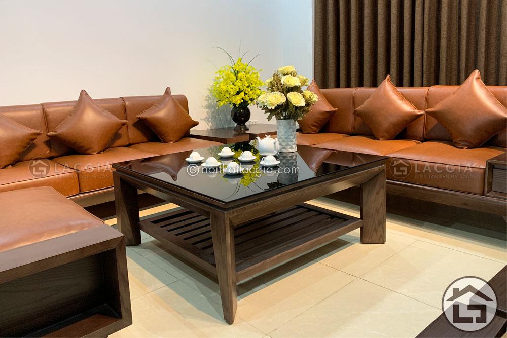 Sofa gỗ phòng khách hiện đại được sản xuất từ gỗ tự nhien cao cấp