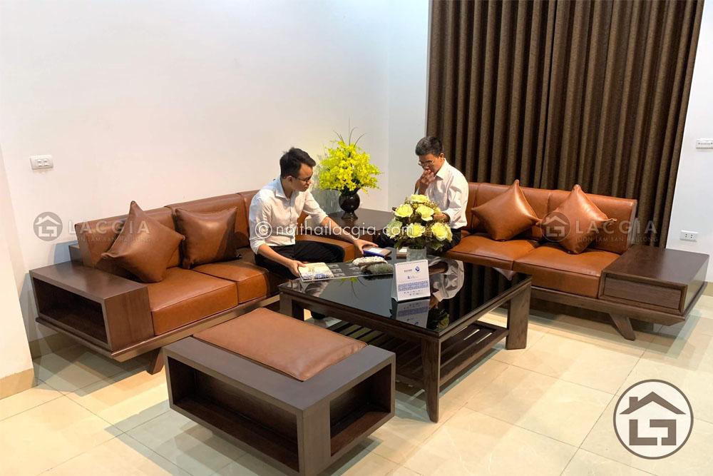 Sofa gỗ cao cấp bọc nệm da keyston