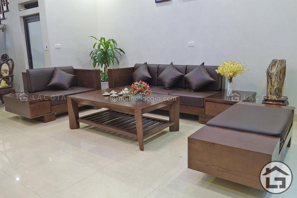 Sofa gỗ bọc nệm da đẹp tại Hà Nội