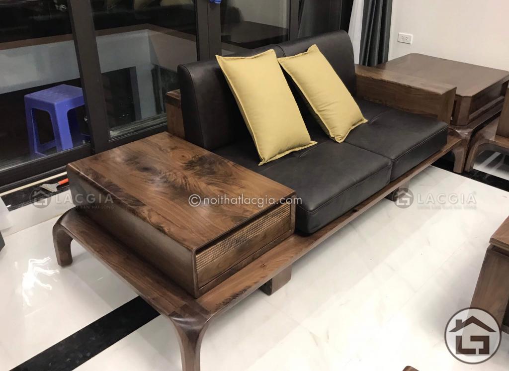 Sofa gỗ óc chó với ngăn kéo ray trượt cao cấp