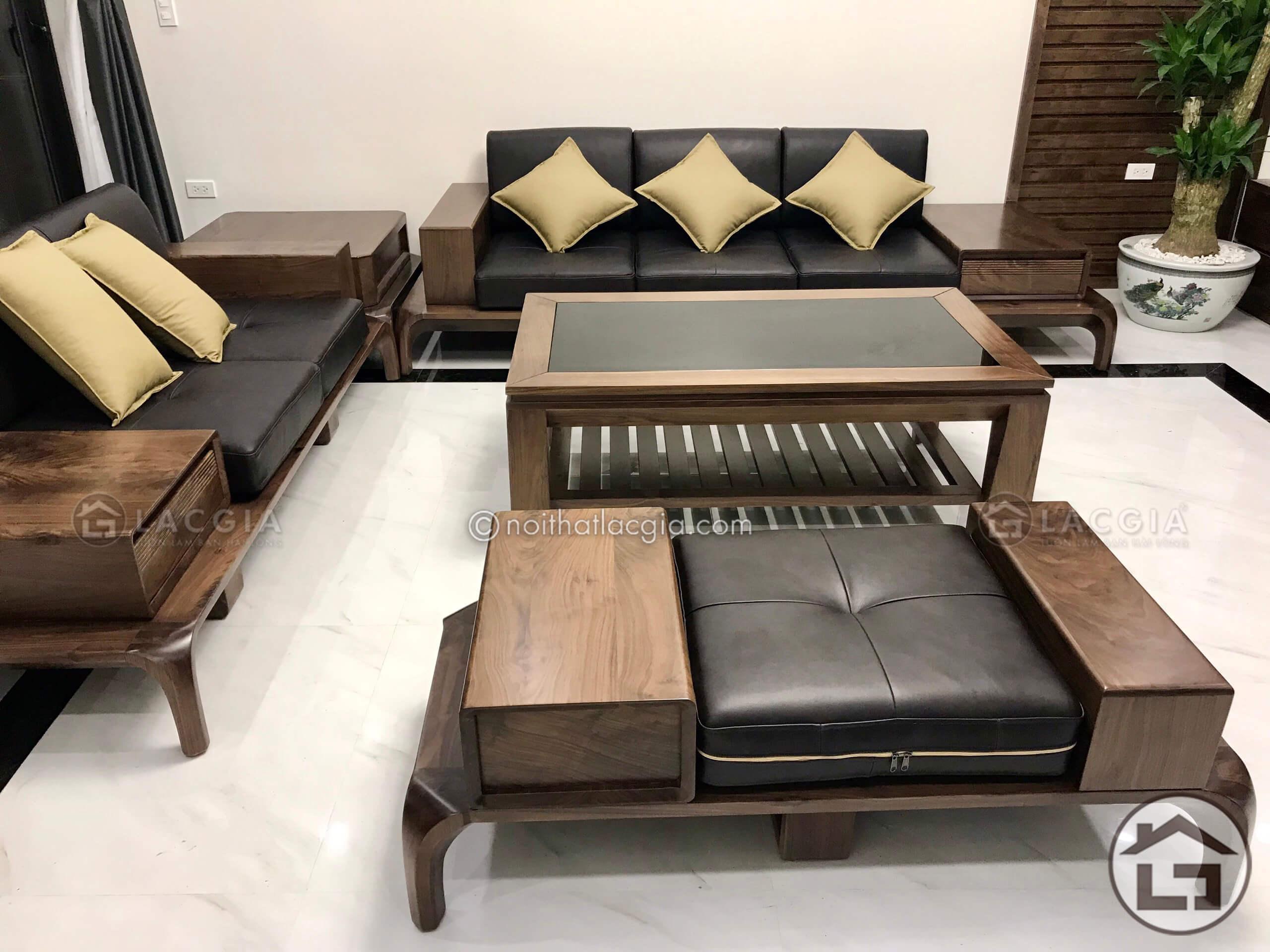 Sofa gỗ óc chó cao cấp tại Hà Nội