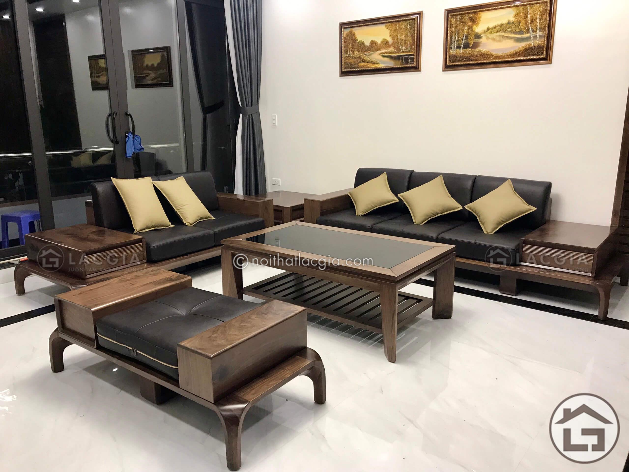 Sofa gỗ óc chó SF10