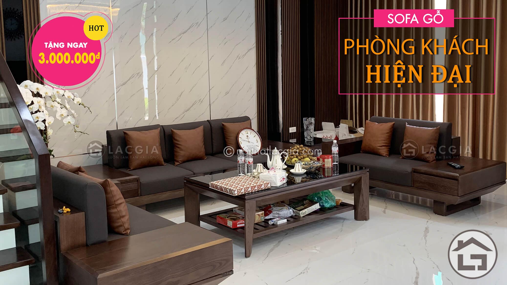 sofa go phong khach - Sofa gỗ óc chó cao cấp SF29 Plus