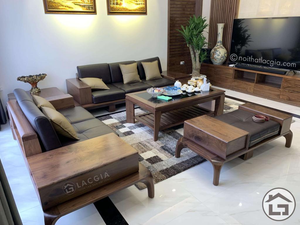 Bộ sofa gỗ óc chó hiện đại cho phòng khách đẹp