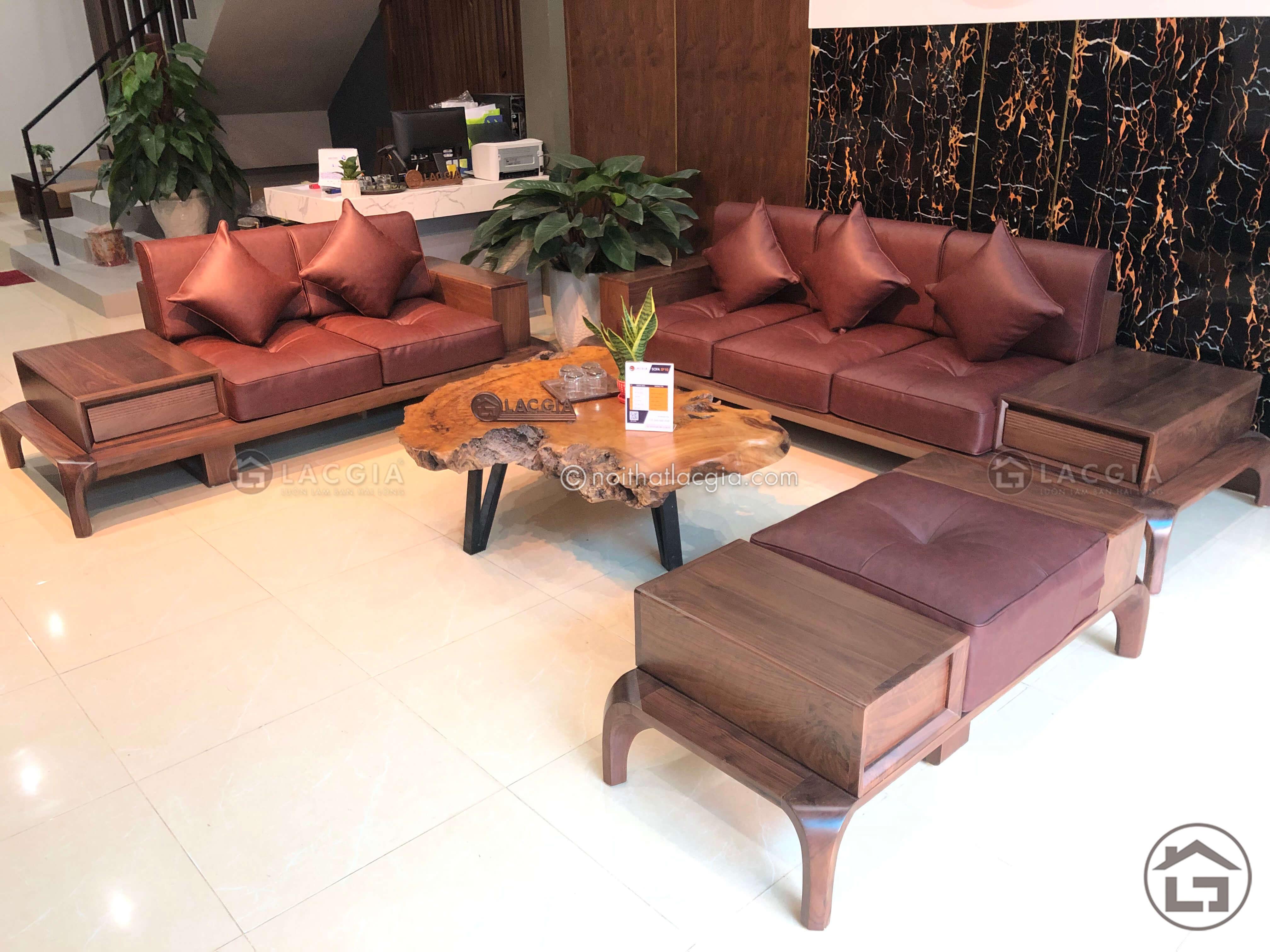 Sofa gỗ óc chó hiện đại cao cấp cho phòng khách