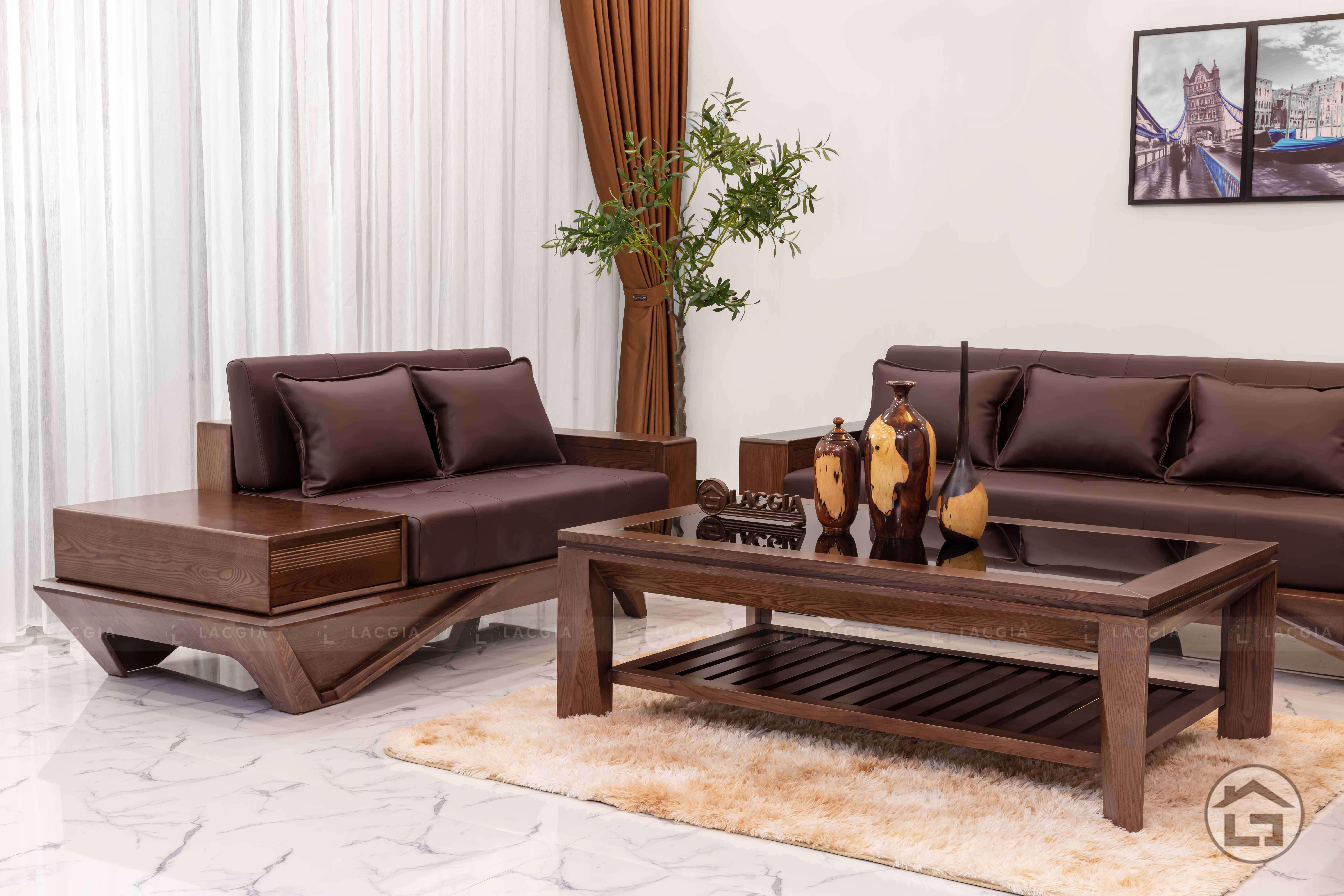 sofa go hien dai sf29 4 - Đón tết hoàn hảo cùng bộ sofa gỗ hiện đại, cao cấp