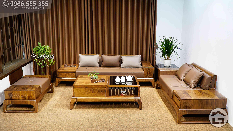 Mẫu sofa gỗ hiện đại, cao cấp chất liệu gỗ óc chó đẹp