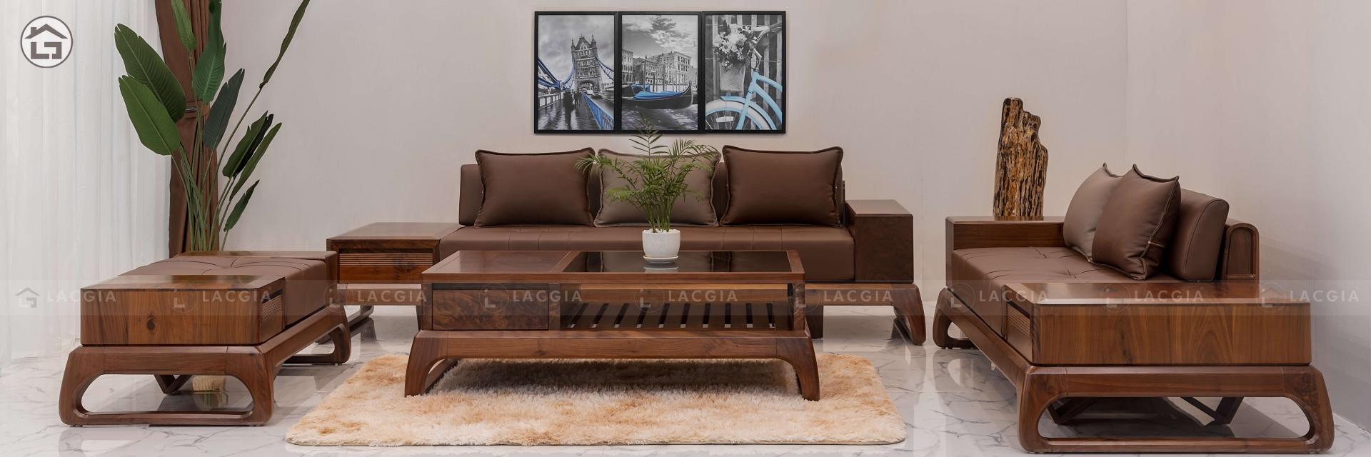 Sofa gỗ óc chó, cao cấp hiện đại Nội Thất Lạc Gia