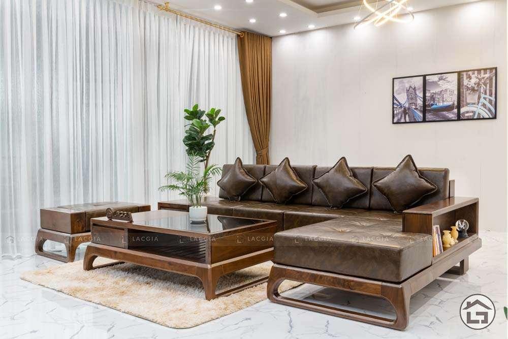 sofa go tu nhien chu l sf30 7 - Sofa gỗ tự nhiên chữ L SF30