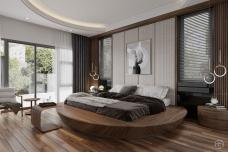 Giường tròn gỗ sang trọng GN21