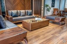 Sofa gỗ LV óc chó hiện đại